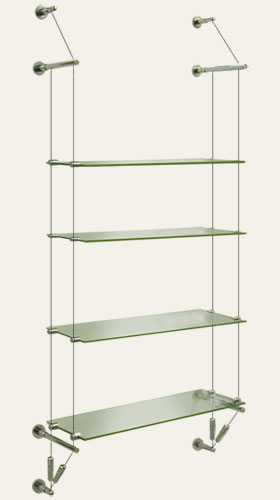 suspended glass shelf, wall to wall